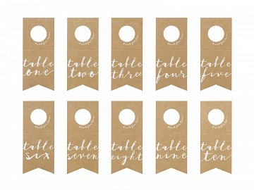 Table numbers - bottles hangers, 8x18.5cm (1 pkt / 10 pc.)