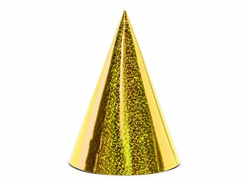 Holographic party hats, gold, 16cm (1 pkt / 6 pc.)