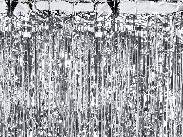 Party curtain, silver, 0.9 x 2.5m