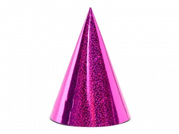 Holographic party hats, dark pink, 10cm (1 pkt / 6 pc.)