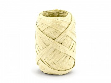 Raffia ribbon, 5mm/10m, dark cream (1 ctn / 80 pc.)