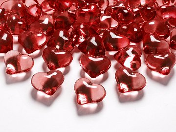 Crystal hearts, red, 21mm (1 pkt / 30 pc.)