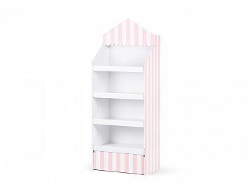 Paper stand, pink and white stripes