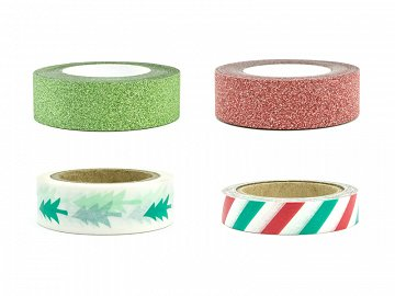 Decorative tape Merry Xmas, mix (1 pkt / 4 pc.)