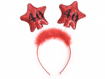 Headband with stars 40, red