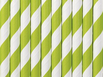 Paper Straws, green apple, 19.5cm (1 pkt / 10 pc.)