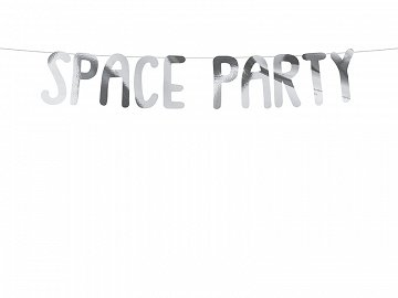 Baner Kosmos -  Space Party, srebrny, 13x96cm (1 karton / 50 szt.)