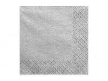 Napkins, 3 layers, silver metallic, 33x33cm (1 pkt / 20 pc.)