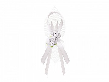 Lapel ribbons with roses, white (1 pkt / 6 pc.)