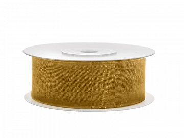 Chiffon Ribbon, gold, 25mm/25m