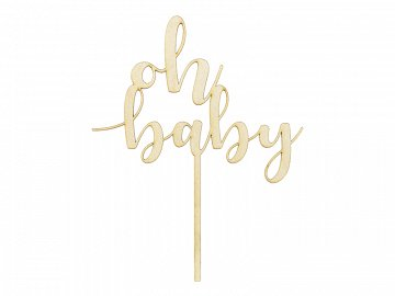Topper drewniany Oh baby, 17cm