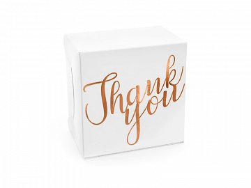 Decorative cake boxes - Thank you, rose gold, 14x8.5x14cm (1 pkt / 10 pc.)
