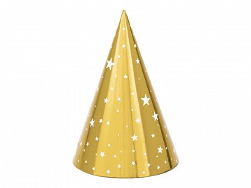 Party hats Stars, gold, 16cm (1 pkt / 6 pc.)