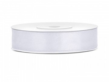 Satin Ribbon, white, 12mm/25m (1 pc. / 25 lm)