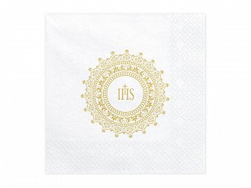 Napkins First Communion - IHS, 33x33cm, gold (1 pkt / 20 pc.)