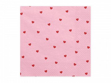 Napkins Hearts, light pink, 33x33cm (1 pkt / 20 pc.)