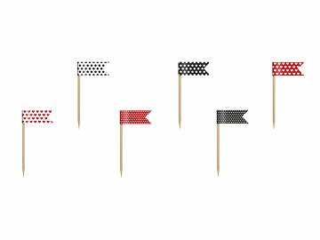 Cupcake Toppers Mini Flags Ladybug, mix, 7cm (1 ctn / 50 pkt) (1 pkt / 6 pc.)