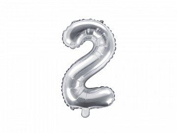 "Foil Balloon Number ""2"", 35cm, silver"