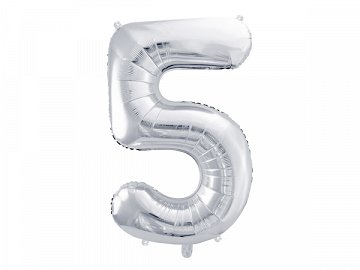 "Foil Balloon Number ""5"", 86cm, silver"