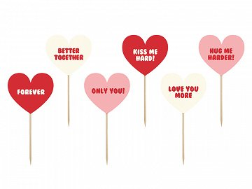 Cupcake toppers Sweet Love - Texts (1 pkt / 6 pc.)