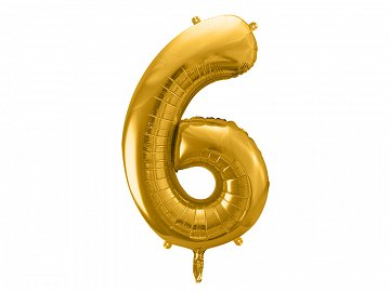 "Foil Balloon Number ""6"", 86cm, gold"