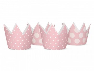 Party Crowns, light pink, 10cm (1 ctn / 100 pkt) (1 pkt / 4 pc.)