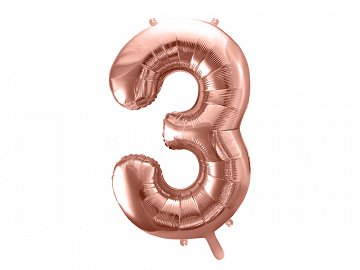 "Foil Balloon Number ""3"", 86cm, rose gold (1 ctn / 50 pc.)"