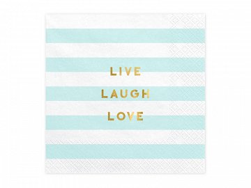 Napkins Yummy - Live Laugh Love, light blue, 33x33cm (1 pkt / 20 pc.)