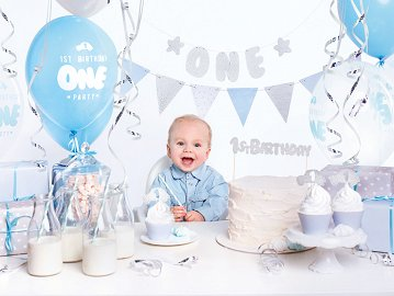 Party decorations set - 1st Birthday, silver (1 ctn / 6 pkt)