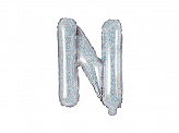 "Foil Balloon Letter ""N"", 35cm, holographic"