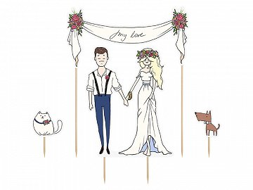 Cake topper My love, 8-23.5cm (1 pkt / 4 pc.)