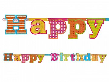 Baner Happy Birthday, 16 x 166cm (1 karton / 40 szt.)