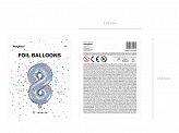 "Foil Balloon Number ""8"", 35cm, holographic"
