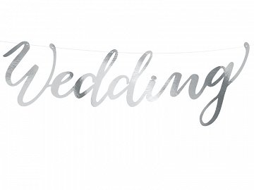Banner Wedding, silver, 16.5x45cm