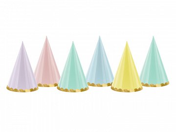 Party hats Yummy, mix, 16cm (1 pkt / 6 pc.)