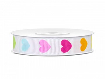 Grosgrain ribbon Colourful Hearts, 12mm/10m (1 pc. / 10 lm)
