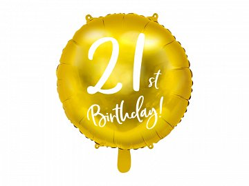Foil Balloon 21st Birthday, gold, 45cm