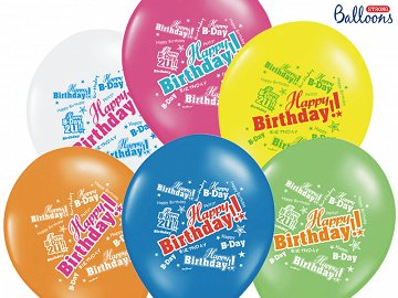 Balony 30cm, Happy Birthday, Pastel Mix (1 op. / 6 szt.)