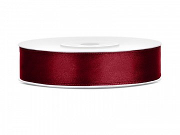 Satin Ribbon, deep red, 12mm/25m (1 pc. / 25 lm)