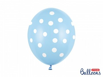 Balloons 30cm, Dots, Pastel Baby Blue (1 pkt / 6 pc.)