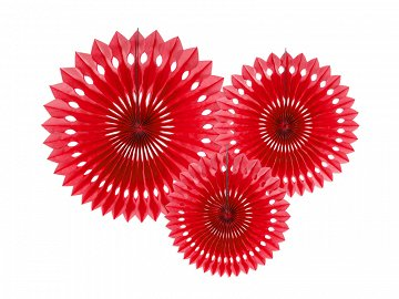 Tissue fan, red, 20-30cm (1 ctn / 50 pkt) (1 pkt / 3 pc.)