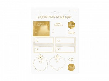 Christmas stickers, gold (1 pkt / 10 pc.)
