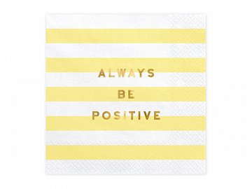 Napkins Yummy - Always be positive, light yellow, 33x33cm (1 pkt / 20 pc.)