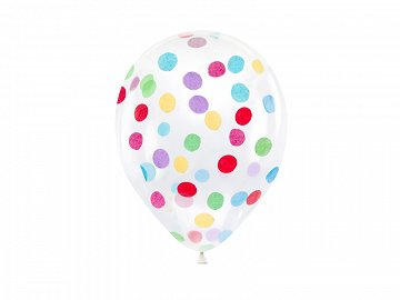 Confetti balloons - circles, 30cm, mix  (1 pkt / 6 pc.)