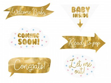 Photo props Baby shower, mix (1 pkt / 6 pc.)