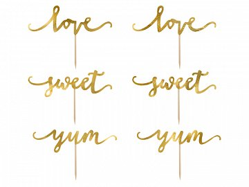 Cupcake toppers Love, gold, 13cm (1 pkt / 6 pc.)