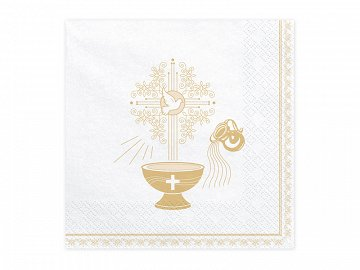 Napkins Holy Baptism, 33x33cm, gold (1 pkt / 20 pc.)