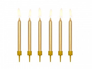 Birthday candles, plain, gold, 6cm (1 pkt / 6 pc.)