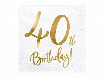 Napkins 40th Birthday, white, 33x33cm  (1 pkt / 20 pc.)