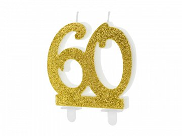 Birthday candle Number 60, gold, 7.5cm